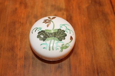 Antique Chinese Japanese Covered Box with Lotus Plant Caligraphy Decorations