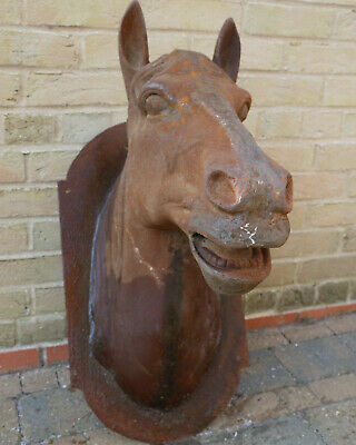 Cast Iron Horse Head Wall Mounted Large Hanging Plaque Rusty Finish Feature New