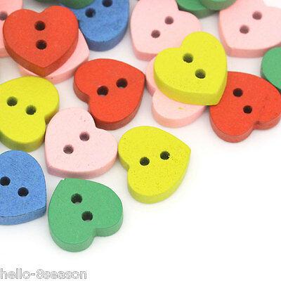 200PCs Mixed 2 Holes Love Heart Wood Sewing Buttons Scrapbooking 11mm x 12mm