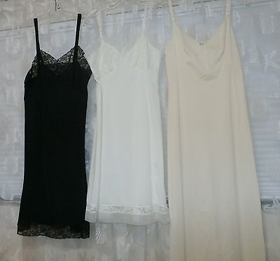 Lot Of 3--Vintage Nylon Full Slip--Van Raalte, Charmode, Olga