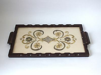 Vintage Antique Wooden Serving Tray Embroidered Glass