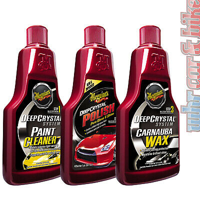 Meguiars Deep Crystal Paint Cleaner, Polish & Carnauba Wax Step1-3