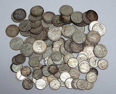 Lot of 100 Circulated Canadian 50% Silver 1967-68 25 Cents and 10 Cents