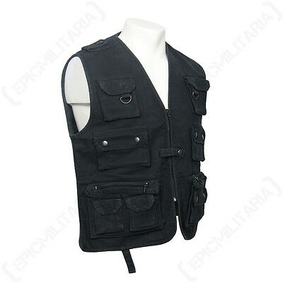 HUNTING AND FISHING MOLESKN VEST - BLACK - Waistcoat Camouflage Shooting Outdoor