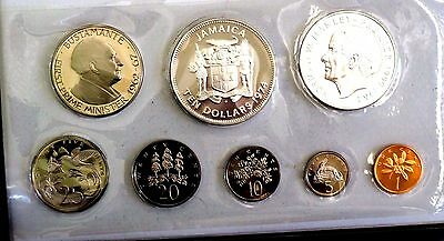 Jamaica 1974 Proof Set (8 Coins) Case/ Literature (2 Silver Coins)