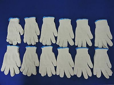 White Knit Work Gloves, Lot of 12 Pairs//