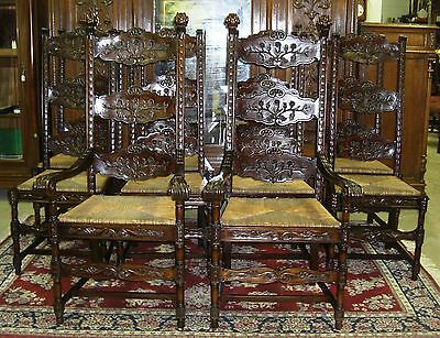 12 Antique Style Country French Carved Dining Chairs Rush & Upholstered Seats