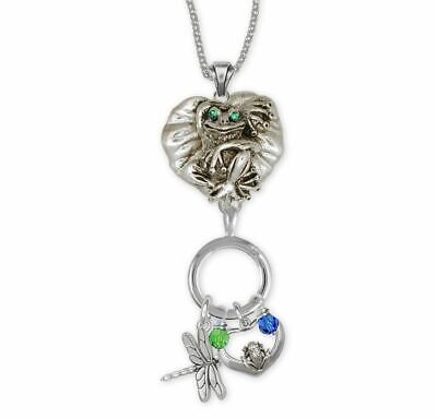 Frog Necklace Jewelry Sterling Silver Handmade Frog Necklace FG4-XCNK