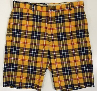 Vtg 60's Levi's Men Yellow Blue PLAID Walking FLAT FRONT Casual GOLF Shorts 32