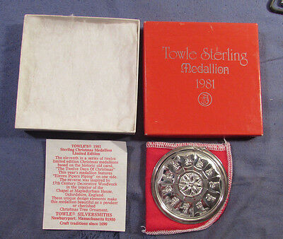 Vintage 1981 Towle Sterling Silver Christmas Ornament Medallion With Box & Coa