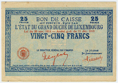 LUXEMBOURG 1914-1918 (1919) ISSUE  25 FRANCS BANKNOTE VERY SCARCE AUNC.PICK#31a.