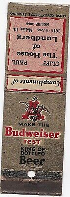 Vintage Make The Budweiser Test The House Of Lundberg Matchbook Cover
