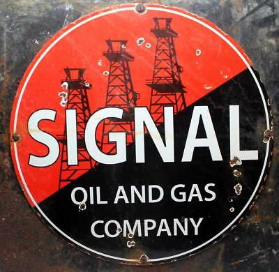 Rare Original Vintage Signal Oil & Gas Porcelain Sign - Mounted on Highway Sign