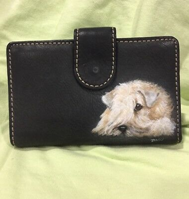 Wheaten Terrier Hand Painted Black Wallet By Darci