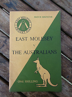 VERY RARE  1953 ASHES Tour  Cricket Programme EAST MOLESEY v THE AUSTRALIANS
