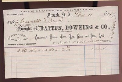 Newark New Jersey Batten Downing Company Window Glass Sales Bill Invoice Paper