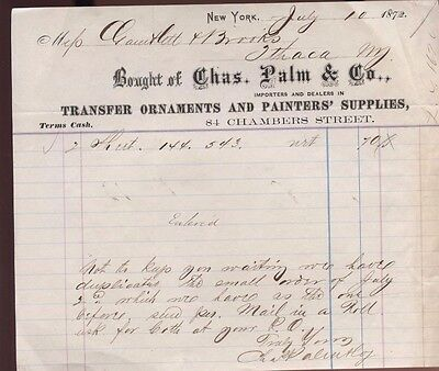 New York City Palm Company Transfer Ornaments Painter Supply Business Invoice