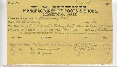 1896 Georgetown Massachusetts Brewster's Boots Shoes North Liberty Pennsylvania