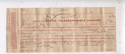 1902 Cherokee County South Carolina Postal Telegraph Cable Company Receipt Paper