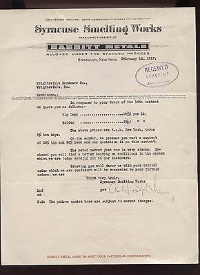 1917 Brooklyn Syracuse New York Smelting Works Babbitt Metal Business Letter Old