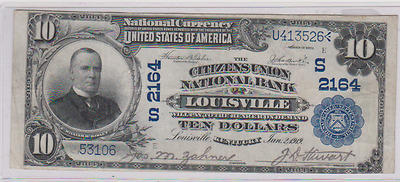 1902~Large Size $10 National Currency~Citizens Union National~~Louisville, Ky