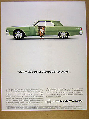 1962 Lincoln Continental Sedan green car little boy photo vintage print Ad