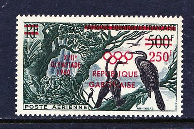 Gabon 1960 Airmail Olympic Games Surcharge BIRDS - Mint hinged - Cat £9 - (22)