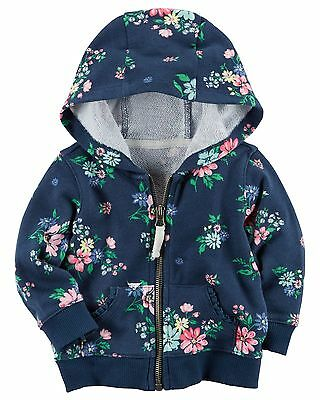 Carters Infant Girls' Navy Floral French Terry Hoodie NWT layering jacket