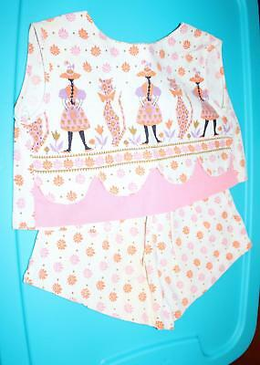 Vintage 1950s Child's Summer Outfit Fits Large Doll Mod Pink Orange Cats Retro