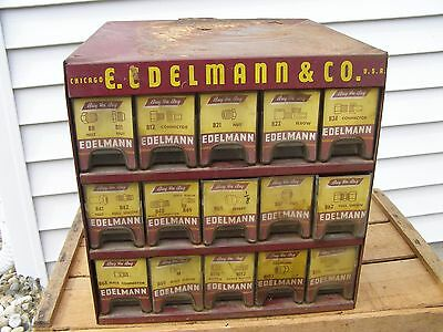 Vintage Edelmann & Co 15 Drawer Store Display w/ Many New Brass Fittings & More