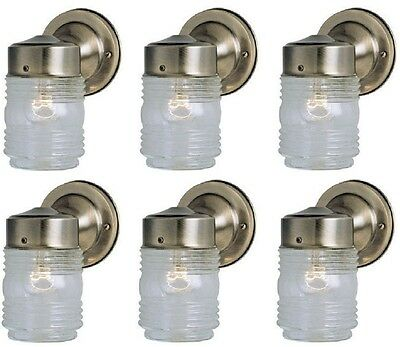 (6) Westinghouse 66839 Antique Brass Single Lamp Jelly Jar Wall Light Fixtures