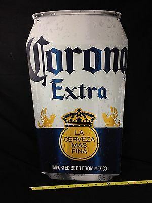 Corona Extra Beer Can Tin Tacker Sign Metal Tiki Bar Pub New!!