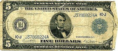 Amazing 1914 US $5 Large Size Federal Reserve Currency Note NR830