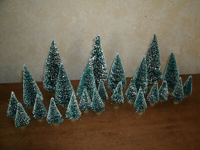 "Lot of 24 Bottle Brush Trees Green Frosted  - 1.5"" - 4.5"""