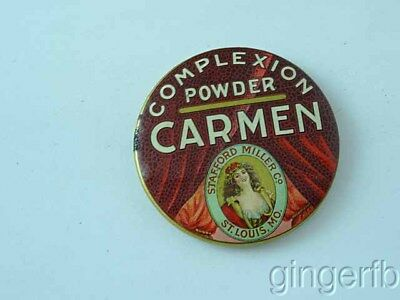 Antique Celluloid Advertising Pocket Mirror Carmen Complexion Powder St Louis MO