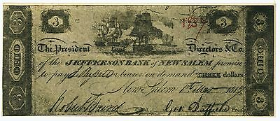 New Salem, OH- Jefferson Bank $3 March 1, 1817 Very Early Obsolete Note Nice XF