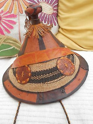 African Fulani cattle herder farmer's hats straw leather traditional West Afric