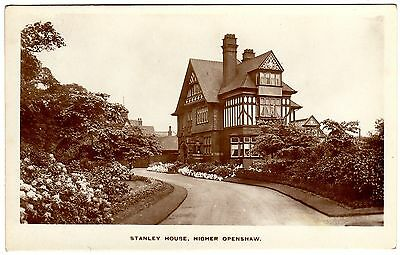 Early Real Photo Postcard Stanley House-Masonic Hall-Higher Openshaw-Manchester