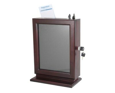 Adir Mahogany Wood Customizable Suggestion Box - Mahogany Glass