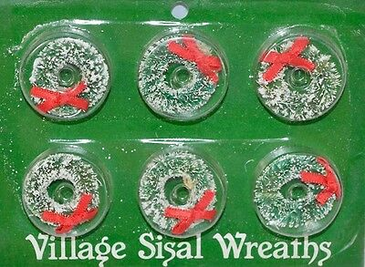 Dept 56 Village *sisal Wreaths* 54194 Set  6 W/ Red Ribbon Bows Brand New W Pckg