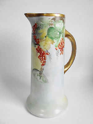 Antique PORCELAIN Painted TANKARD CURRANT Berry GRAPE Gold PSL Imperial Austria