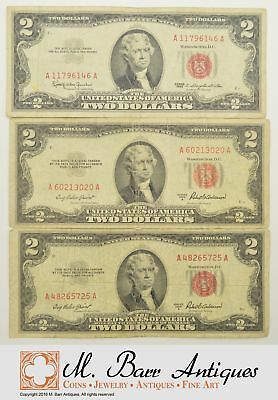 Lot of (3) Red Seal $2.00 United States Notes - Seen Better Days *493