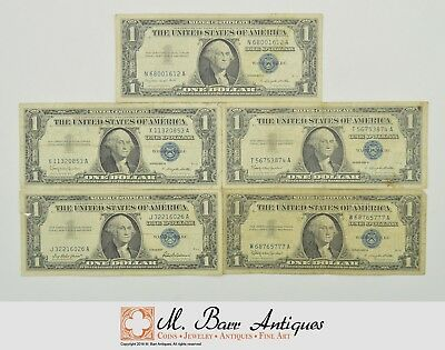 Lot (5) Authentic $1.00 Silver Certificate Notes - Collection US *718