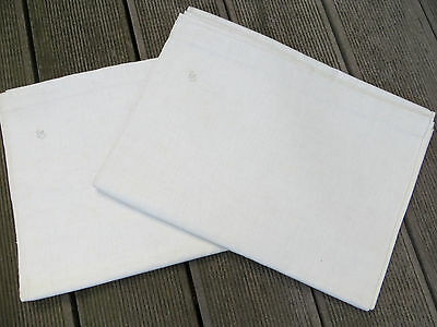 "Unused  Pair ( 2)   White of Cream  Linen Sheets Linen Monogram GS 58 "" by 88"""