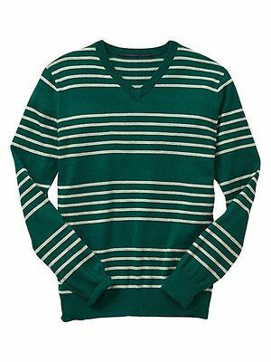 GAP Men's V-Neck Pullover Sweater Size L Green Gray Striped Lightweight New NWT