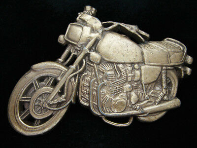 OE17126 *NOS* VINTAGE 1970s CUT-OUT **MOTORCYCLE** SOLID BRASS BELT BUCKLE