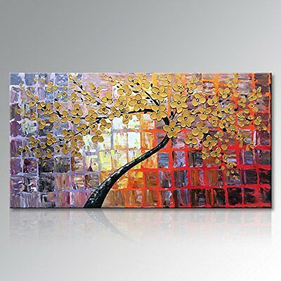 Hand Painted Wall Art Flowers Abstract Painting on Canvas