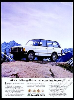 1991 Land Rover Range Rover Great Divide limited edition SUV photo print ad