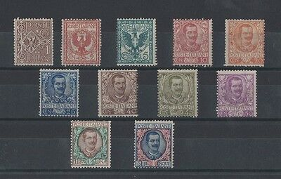 Italy 1901 King Victor Emanuel III Definitives same rare SG 62/72 mlh toning