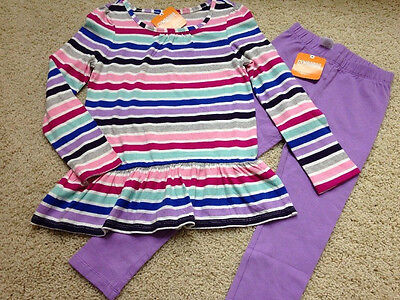 NWT Girls Size 5 - 6 GYMBOREE L/S Stripe Ruffle top & Leggings Outfit Set